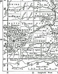 1888 Map of South Dakota showing Black Hills