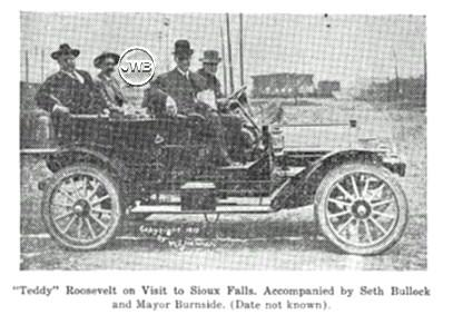 """Teddy"" Roosevelt on a visit to Sioux Falls, accompanied by Seth Bullock and Major Burnside."